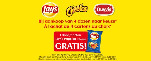 Geldig van 01/03/2019 t.e.m. 31/03/2019. Bij aankoop van 4 dozen naar keuze : 1 doos Lay's Paprika (20 x 40g) gratis. Lay's : 20 x 40g / 20 x 30g Cheetos : 24 x 27g Duyvis : 20 x 45g...